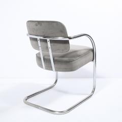Pair of Art Deco Machine Age Bent Aluminum Platinum Velvet Occasional Chairs - 2050275