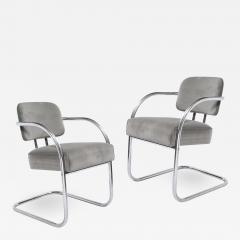 Pair of Art Deco Machine Age Bent Aluminum Platinum Velvet Occasional Chairs - 2050787