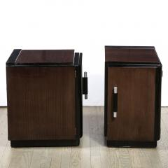 Pair of Art Deco Machine Age Bookmatched Walnut Nightstands w Lacquer Details - 1950234
