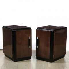 Pair of Art Deco Machine Age Bookmatched Walnut Nightstands w Lacquer Details - 1950235