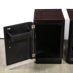 Pair of Art Deco Machine Age Bookmatched Walnut Nightstands w Lacquer Details - 1950236