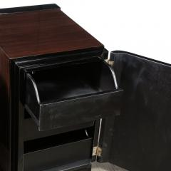 Pair of Art Deco Machine Age Bookmatched Walnut Nightstands w Lacquer Details - 1950237
