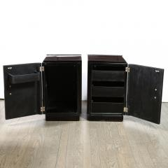Pair of Art Deco Machine Age Bookmatched Walnut Nightstands w Lacquer Details - 1950244