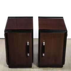 Pair of Art Deco Machine Age Bookmatched Walnut Nightstands w Lacquer Details - 1950245
