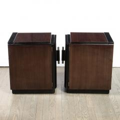 Pair of Art Deco Machine Age Bookmatched Walnut Nightstands w Lacquer Details - 1950246