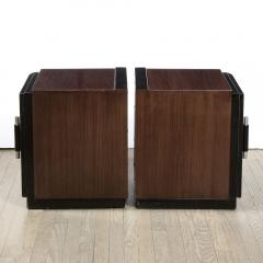 Pair of Art Deco Machine Age Bookmatched Walnut Nightstands w Lacquer Details - 1950247