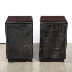 Pair of Art Deco Machine Age Bookmatched Walnut Nightstands w Lacquer Details - 1950249