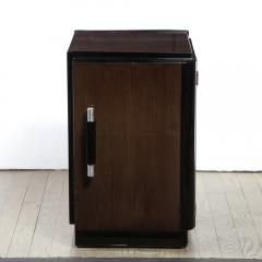 Pair of Art Deco Machine Age Bookmatched Walnut Nightstands w Lacquer Details - 1950250
