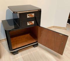 Pair of Art Deco Nightstands Black Piano Lacquer and Nickel France circa 1930 - 1331794