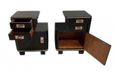 Pair of Art Deco Nightstands Black Piano Lacquer and Nickel France circa 1930 - 1331802
