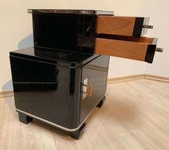 Pair of Art Deco Nightstands Black Piano Lacquer and Nickel France circa 1930 - 1331831