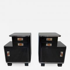 Pair of Art Deco Nightstands Black Piano Lacquer and Nickel France circa 1930 - 1333589