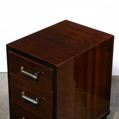 Pair of Art Deco Nightstands in Lacquer Walnut w Streamlined Chrome Pulls - 2050175