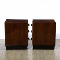 Pair of Art Deco Nightstands in Lacquer Walnut w Streamlined Chrome Pulls - 2050177
