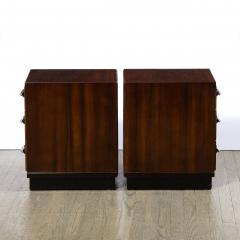 Pair of Art Deco Nightstands in Lacquer Walnut w Streamlined Chrome Pulls - 2050180