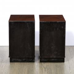 Pair of Art Deco Nightstands in Lacquer Walnut w Streamlined Chrome Pulls - 2050183