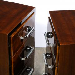 Pair of Art Deco Nightstands in Lacquer Walnut w Streamlined Chrome Pulls - 2050184
