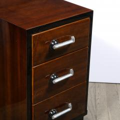 Pair of Art Deco Nightstands in Lacquer Walnut w Streamlined Chrome Pulls - 2050202