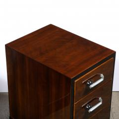 Pair of Art Deco Nightstands in Lacquer Walnut w Streamlined Chrome Pulls - 2050214