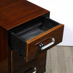 Pair of Art Deco Nightstands in Lacquer Walnut w Streamlined Chrome Pulls - 2050219