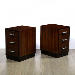 Pair of Art Deco Nightstands in Lacquer Walnut w Streamlined Chrome Pulls - 2050220