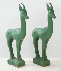 Pair of Art Deco Plaster Gazelle - 1155254