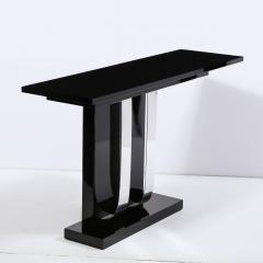 Pair of Art Deco Skyscraper Style Streamlined Lacquer Chrome Console Tables - 2050201