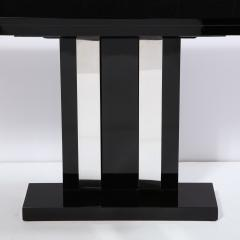 Pair of Art Deco Skyscraper Style Streamlined Lacquer Chrome Console Tables - 2050236