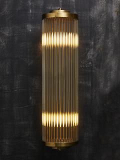 Pair of Art Deco Style Brass and Glass Wall Sconces - 1933633