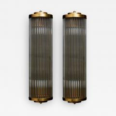 Pair of Art Deco Style Brass and Glass Wall Sconces - 1934942
