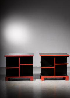 Pair of Art Deco black and red side tables - 1671082