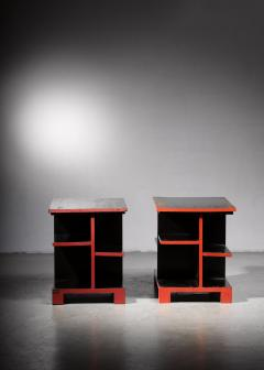 Pair of Art Deco black and red side tables - 1671083