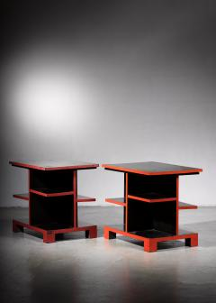 Pair of Art Deco black and red side tables - 1671084
