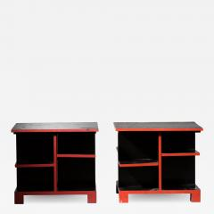 Pair of Art Deco black and red side tables - 1673458