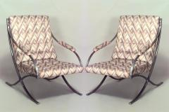 Pair of Art Moderne Chrome Cross Leg Barcelona Style Armchairs - 424840
