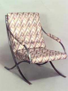 Pair of Art Moderne Chrome Cross Leg Barcelona Style Armchairs - 424841