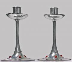 Pair of Art Nouveau Jugendstil Pewter Candlesticks C 1910 - 1835566
