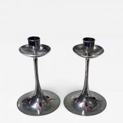 Pair of Art Nouveau Jugendstil Pewter Candlesticks C 1910 - 1839929