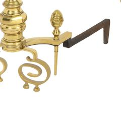 Pair of Artisan Andirons in Polished Brass and Wrought Iron 1970s - 2136458