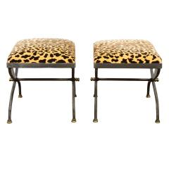 Pair of Artisan Steel Benches with Leopard Print Seats 1970s - 2068112