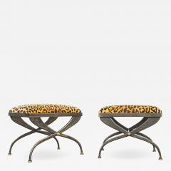 Pair of Artisan Steel Benches with Leopard Print Seats 1970s - 2068855