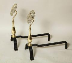 Pair of Arts Crafts Brass and Iron Andirons - 660222