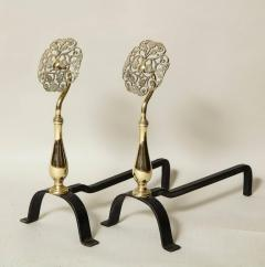 Pair of Arts Crafts Brass and Iron Andirons - 660223