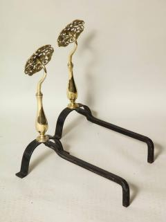 Pair of Arts Crafts Brass and Iron Andirons - 660226