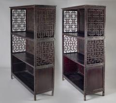 Pair of Asian Bamboo Open Cabinets - 1198131