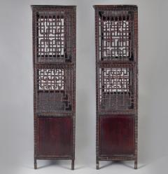 Pair of Asian Bamboo Open Cabinets - 1198132