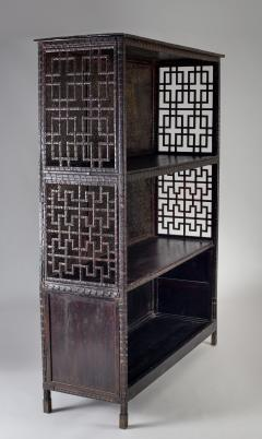 Pair of Asian Bamboo Open Cabinets - 1198133