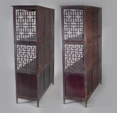 Pair of Asian Bamboo Open Cabinets - 1198134