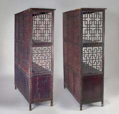 Pair of Asian Bamboo Open Cabinets - 1198136