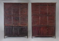 Pair of Asian Bamboo Open Cabinets - 1198137
